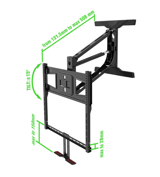 "Full Motion TV Mount bracket | Lowering Pull down Television 55"" to 65"" Specification"