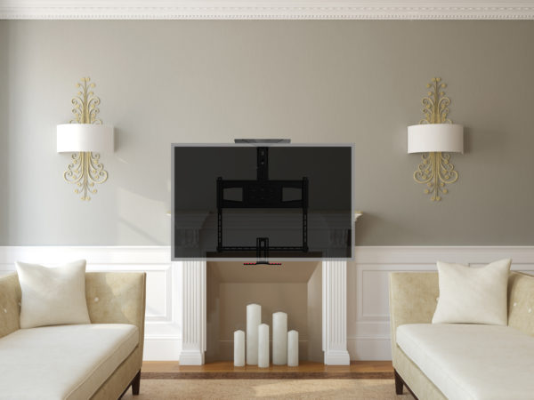 """Pull Down TV Mount for 70"""" to 100"""" Lowering the TV for eye level viewing"""