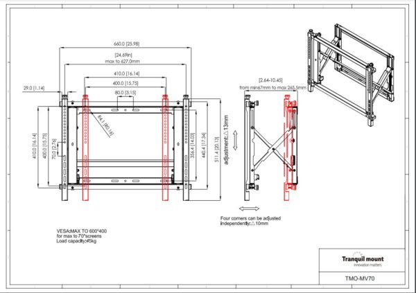 Pull Out Video Wall Mount Display Specs